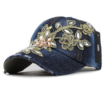 Summer Baseball Cap For Women Flower Rhinestone Denim Baseball Cap Gorras Fall Hat For Womens Jean Caps