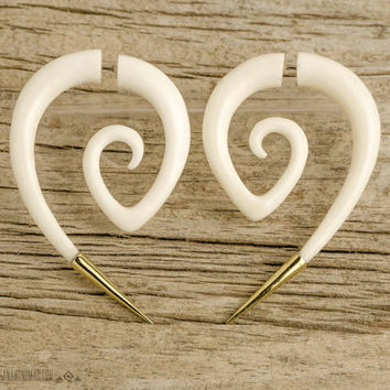 Fake Gauge Earrings Spiral Hornet with Golden Tip Gothic Tribal Style Buffalo White Bone Organic - FG078 B G1