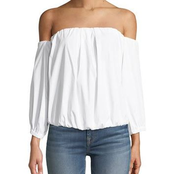 7 For All Mankind Off-the-Shoulder Puff-Sleeve Stretch-Poplin Top