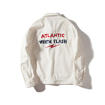 With Pocket Training Vintage Alphabet Embroidery Jacket [7929504451]