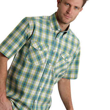 Roper Mens 9541 Lemon Grass Plaid Amarillo Lemon Grass Short Sleeve Shirt Button Closure - 2 Pocket