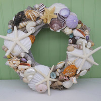 Beach Decor Seashell and Driftwood Wreath - Shell Wreath - Coastal Home Decor - Nautical Decor