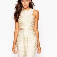 ASOS SCULPT Metallic Pipping Mini Bodycon Dress