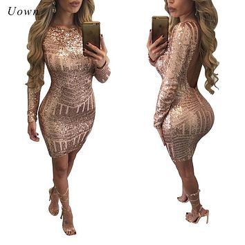 Sexy Backless Gold Sequin Dress Women Autumn Winter Long Sleeve Sparkly Bodycon Mini Dress Night out Club Short Party Dresses XL