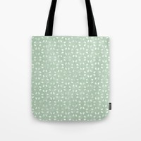 Sage Green White Petals  Tote Bag by KCavender Designs