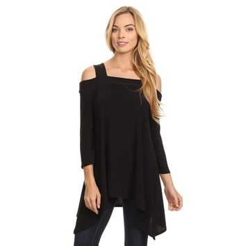 High Secret Women's Solid Color Cut-out Shoulder Long-sleeved Tunic Top | Overstock.com Shopping - The Best Deals on Long Sleeve Shirts