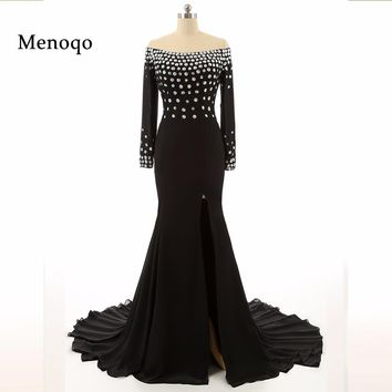 7118W 2018 Hot High Quality Evening Dress Black Elegant Beaded Chiffon Sexy High Split Long Sleeve Prom Dresses Real Photos