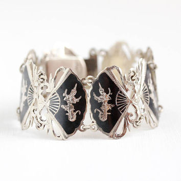 Vintage Siam Bracelet - Sterling Silver Wide Siamese Character Fan Panels - 1940s Dark Niello Filigree Statement Ramakien Thai Jewelry