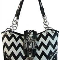 Concealed Carry Purse Chevron Print Handbag Faux Leather Bucket Style with Zigzags and Rhinestone Crown Buckle- Available in Choice of Colors