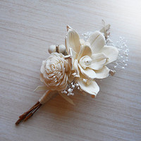 Boutonniere, Sola Flowers, Rustic, Country, Winter, Woodland, Wedding, Corsage, Boutonniere. Made to Order.