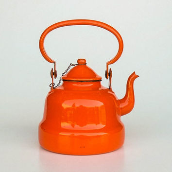 Small Vintage Enamel Teapot / Kettle / 70s Yugoslavia / Orange