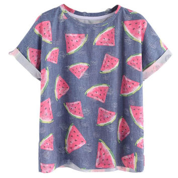 feitong New Summer Women T-Shirt Watermelon Print Cotton Top T Shirt Short Sleeve Girls Tshirt Tops Tee Women's Shirts Tops #042