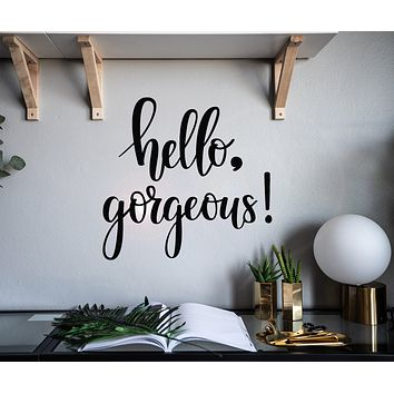 Vinyl Wall Decal Hello Gorgeous Quote Words Inspiring Letters Stickers Mural 22.5 in x 21.5 in gz159