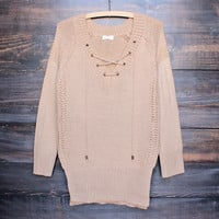 lace-up knit sweater in tan