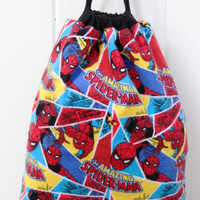 Child's Drawstring Backpack Spider-Man, Fully Lined Drawstring Backpack, Superhero, Spider Man