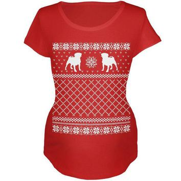 CREYCY8 Pug Ugly Christmas Sweater Red Maternity Soft T-Shirt