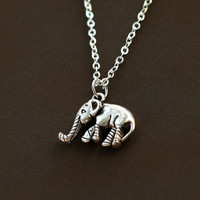 antique Silver cute Elephant Necklace, tiny elephant, gift for girl