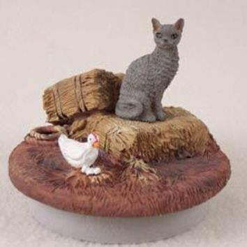 "BLUE CORNISH REX CAT CANDLE TOPPER TINY ONE ""A DAY ON THE FARM"""