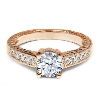 1.10 Ct Round White Topaz Sapphire 925 Rose Gold Plated Silver Engagement Ring
