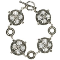 Sterling Silver, Marcasite and Mother of Pearl Circle Station Vintage Bracelet- - Like Love Buy