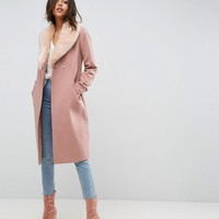 ASOS Midi Skater Coat with Luxe Faux Fur Trim at asos.com