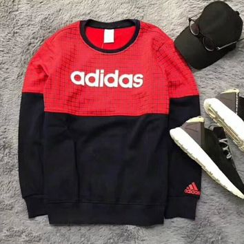 Multi-color Adidas Tartan Letter and Logo Print Long Sleeve Sweater Red