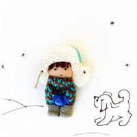Cute Little Brooch - Boy in fur hat and mittens