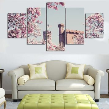 HD Printed Modern Canvas Living Room Pictures 5 Panel New Large Flower Sea Sky Painting Wall Art Modular Poster Home Decor