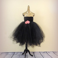 Dress adult tutu dress black tea length baby doll tutu dress prom dress sweet 16 dress teen tutu dress adult tutu