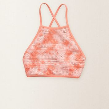 Aerie Halter Crop Bikini Top, Pink Sorbet | Aerie for American Eagle