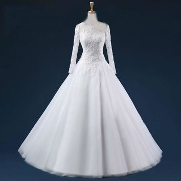 Sheer Scoop Neck Lace Appliques Long Sleeves Ball Gown Wedding Dresses Zipper Back Floor Length Tulle Bridal Gown