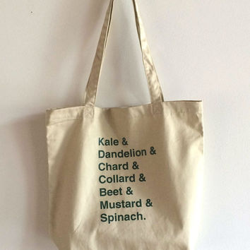 Eat your Greens Screen Printed Organic Cotton Tote Bag