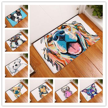 Dog Painting Dogs  Print Carpets Anti-slip Floor Mat Outdoor Rugs