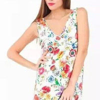 White Floral Printed V-Neck Dress