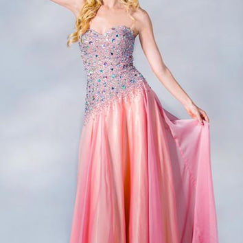 PRIMA C137658 Pink Jeweled Prom Dress Asymmetrical Waist