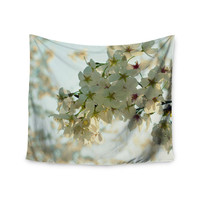 """Robin Dickinson """"Cherry Blossoms"""" White Flower Wall Tapestry"""