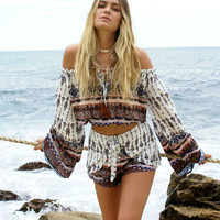 Paisley Print Off The Shoulder Blouse And Shorts