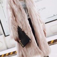 Pink Fluffy Hooded Faux Fur Longline Coat