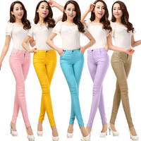 2016 Spring and Summer Women's Slim Pencil Pants Candy Colors slacks girl's Stretch Trousers Elastic big Size thin Leisure pants