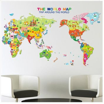 Neymar World Map Wall Sticker Decorative Home Decals Mural Art Posters Pvc Decor For Kid Room Cartoon Home Diy Mural Wallposter