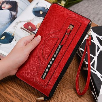 2017 New brand women's wallet long high quality designer's zipper purse for lady Vintage Clutch phone bag multifunctional Purse