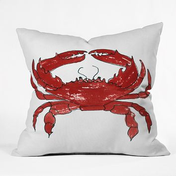 Laura Trevey Red Crab Outdoor Throw Pillow