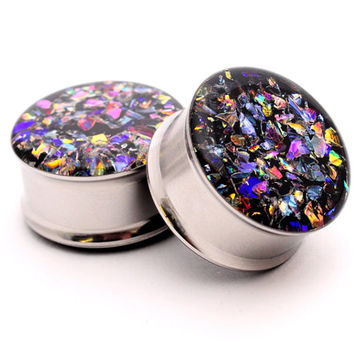 Embedded Dichroic Glass Plugs gauges - 00g, 1/2, 9/16, 5/8, 3/4, 7/8, 1 inch