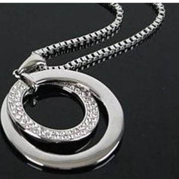 Sterling Silver Hoops Pendant Necklace
