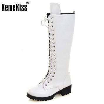 Brand New Designer Womens Square Low Heel Riding Motorcycle Heel Knee High Boots Punk Gothic Platform Lace Up Shoes Size 34-43
