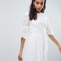 Parisian Broderie Dress With Sleeve Detail at asos.com