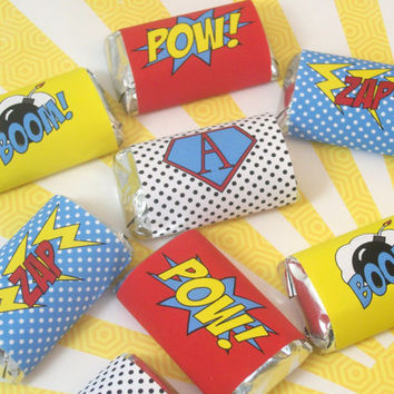 Superhero Mini Candy Bar Wraps, Chocolate Bar Wraps, Superhero Party Favors, Printable Candy Bar Wrappers