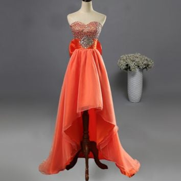 High Low Prom Dresses Sweetheart Evening Gowns Graduation for Girl