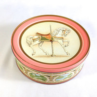 Large Round Pink Storage Tin Carousel Horse Winged Angels Floral Scrolls & Green Countrysides Craft Supply Box Girls Keepsake Treasure Box