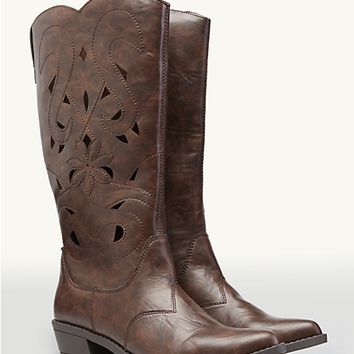 Flower Cutout Cowgirl Boots